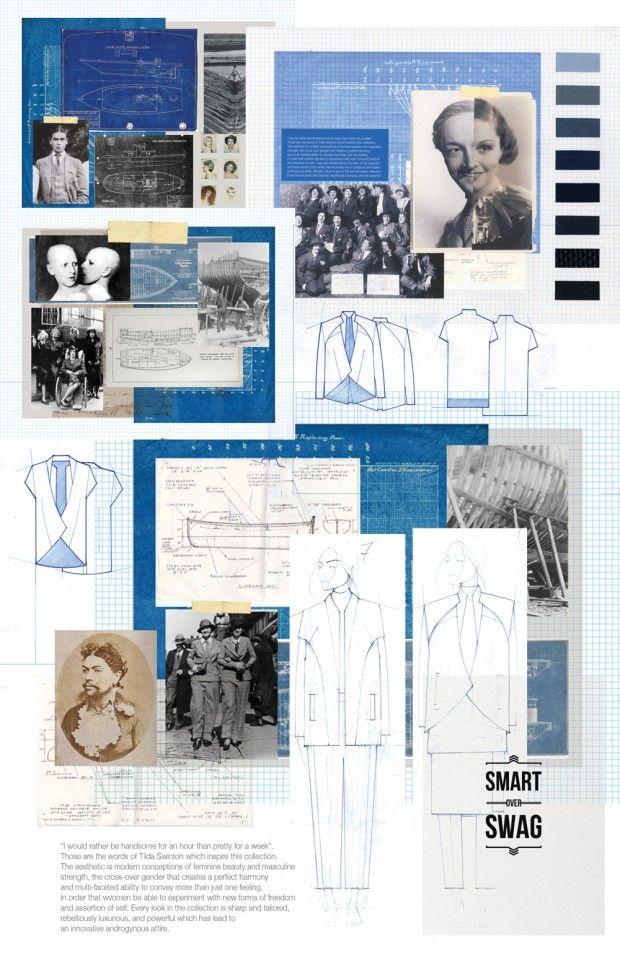 Fashion Portfolio - tailored androgynous fashion design board - historical theme development; fashion drawings; fashion sketchbook // Kittiya Punprapun