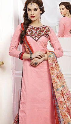 Latest Traditional Pink Chanderi Cotton Pakistani Suit