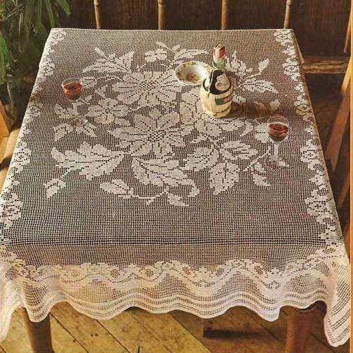 crochet filet table blanket pattern