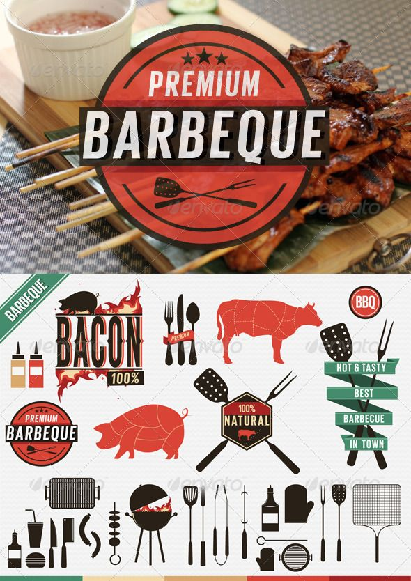 Barbecue Vintage Labels, Grill Icons  #pepper #chicken #fat • Click here to download ! http://graphicriver.net/item/barbecue-vintage-labels-grill-icons/4819886?s_rank=262&ref=pxcr