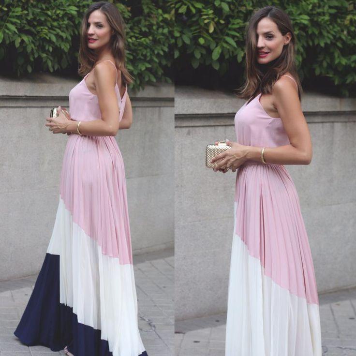 Φόρεμα μακρύ πλισέ ροζ
