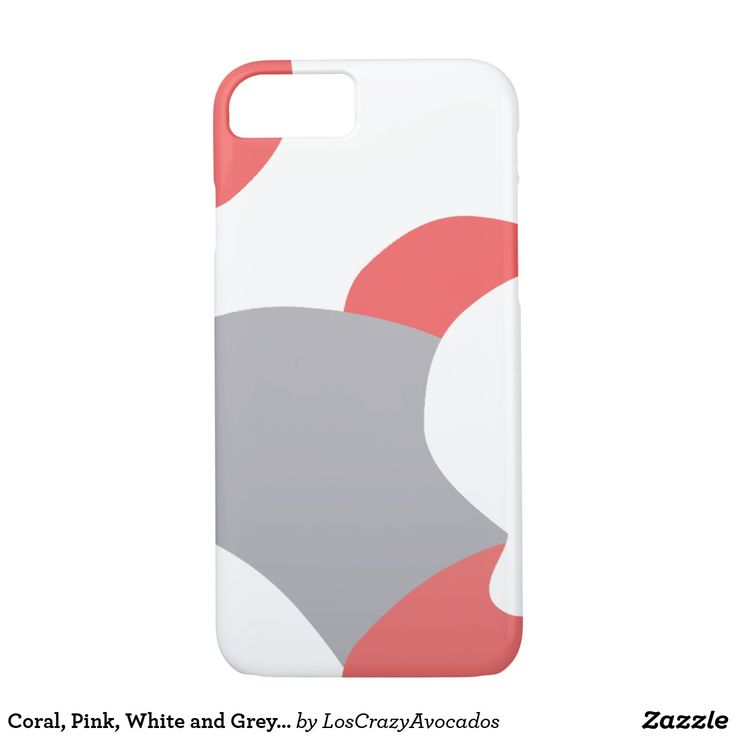 Coral, Pink, White and Grey Abstract IPhone Case