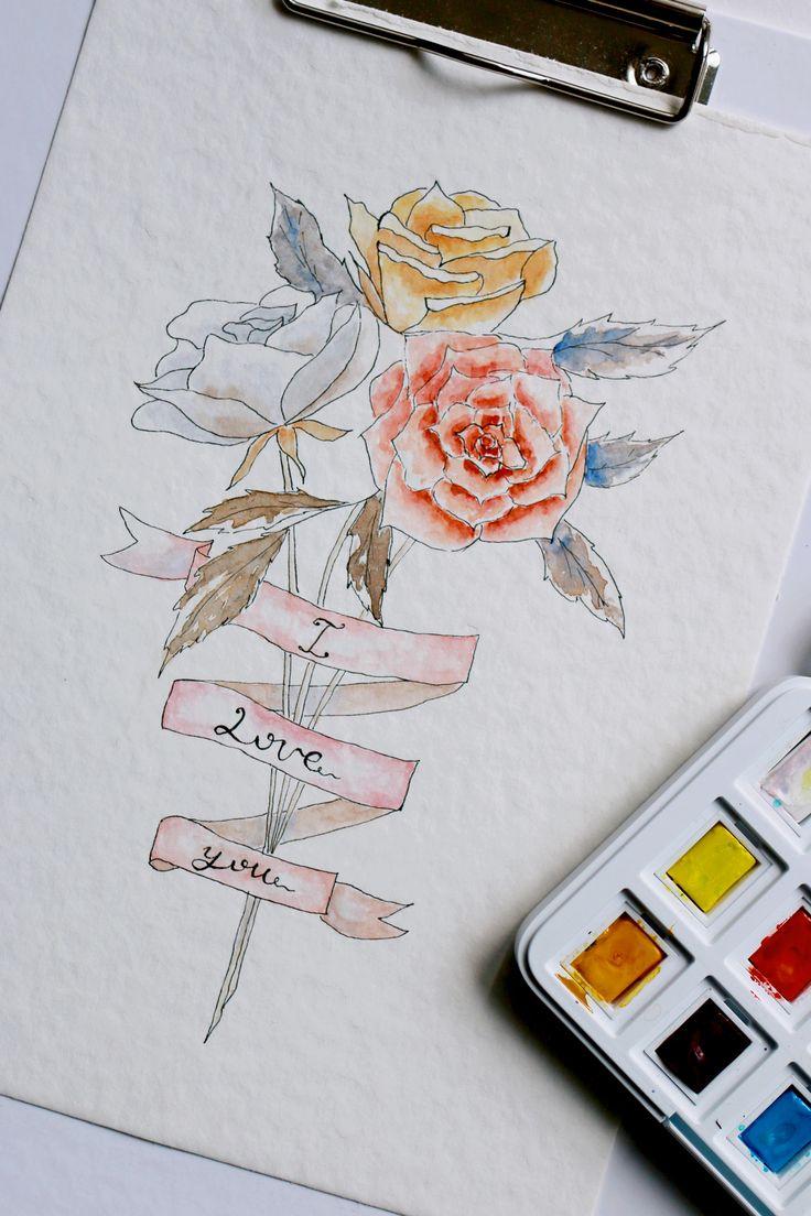 Vintage Rose, watercolor Tutorial by Olesya Turchuk