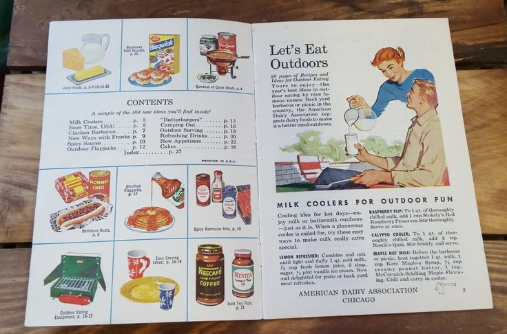 Vintage Cookbook Let's Eat Outdoors Recipes for Picnics Camping BBQ Patio Parties 60's Mid Century Advertising Ephemera Spam Betty Crocker by OffbeatAvenue on Etsy