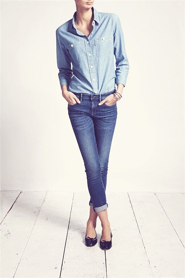 I know people shy away from denim-on-denim, but it can work if you vary the tones, like this chambray shirt and jeans combo.