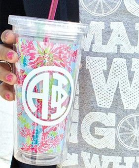 Alpha Phi Monogrammed Lilly Tumbler
