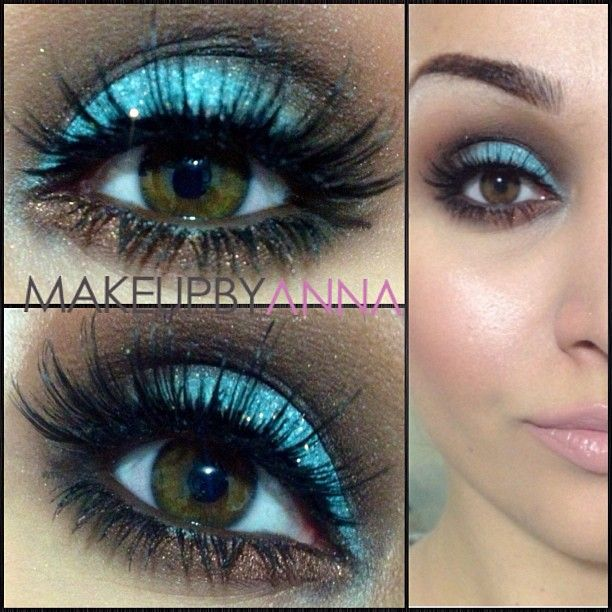 Mac- wavyblue eyeliner as a base (pro color) with pigment cosmetics- matte blue shadow  MAC-espresso and embark eyeshadow with dipdown gel liner in waterline. Inglot loose glitter on lid with Dose of Colors lashes.