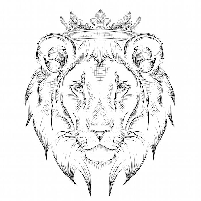 Lion Head Drawing Lion With Crown Tattoo Template Drawing Lion Painting Art Creation Lowen Malen Lowin Tattoo Tiertattoos