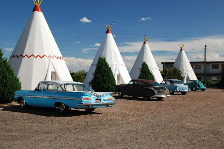 """Hotel in Holbrook, AZ, USA - off the old Rt 66 - stayed in the first one shown here...that '59 Impala was there as well.  The inside of the """"wigwam"""" was so cute!  I could have stayed there a few more nights."""