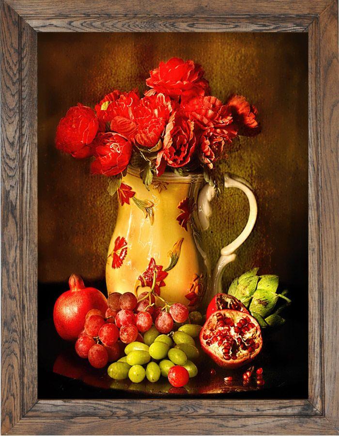 Piękny #obraz w kolorach jesieni i #dębowej ramie.