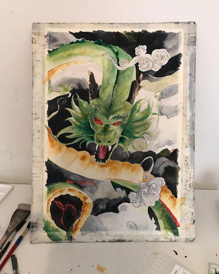 Shenron Water Colour Painting Luke Artistry Https://Instagram.com/lukeArtistry #shenron #dragonballz #dragon #dragontattoo #tattooart #tattooartist #dbz #watercolor #watercolorpainting #watercolortattoo #watercolour #aquarelle #fanart #art #artist #artistsoninstagram