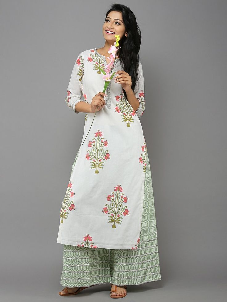 Pink-Green Cotton Kurta with Palazzo - Set of 2