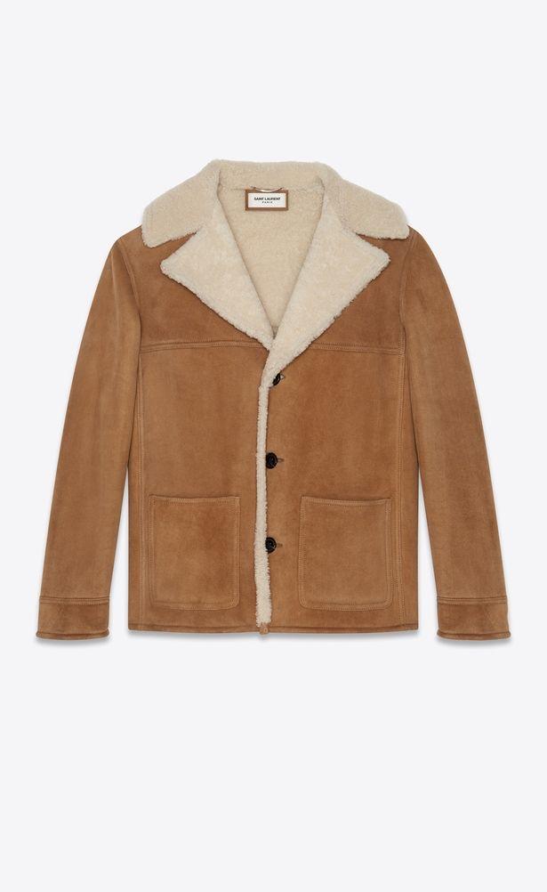 d71ff70658 SAINT LAURENT Coats Man Trapper jacket in cognac suede and beige ...