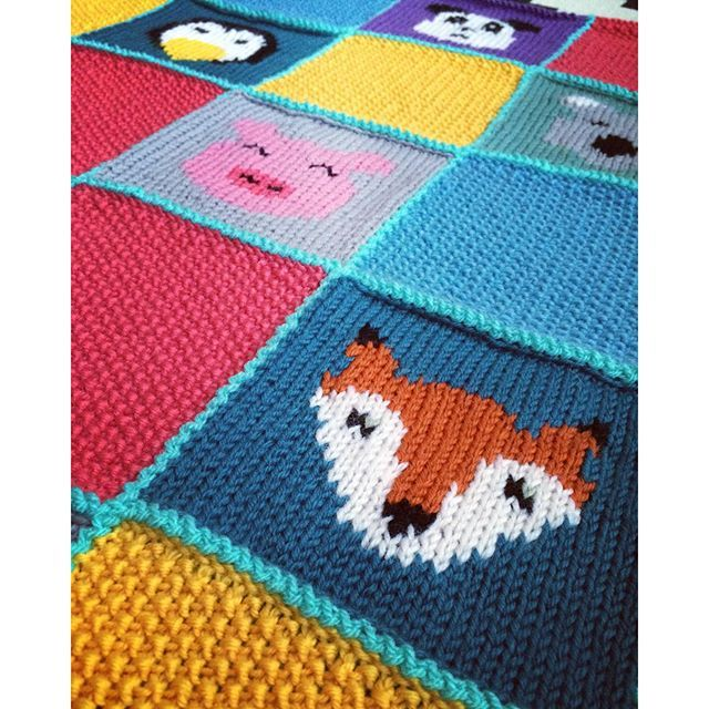 Knitting Animals From Squares : Wip animal squares knitted blanket my knits