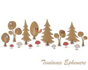 Kit décoration Anniversaire Animaux de la forêt. Arbres en carton Kraft avec stickers