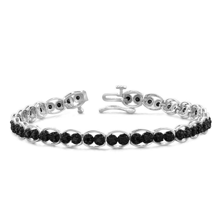 Jewelonfire Sterling Silver, Yellow Goldplated Sterling Silver 2ct TDW Genuine Black Diamond Bracelet, Women's