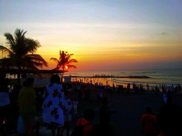 Take a snap. .Beautiful Sunset in Kuta Beach from Discovery Mall Kuta Bali,Indonesia