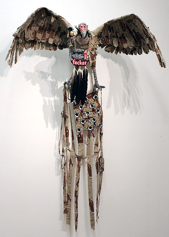 Fiona Hall from exhibition 2011 at Roslyn Oxley9 Gallery Sydney Gymnogyps californianus / Californian condor. 2009-2011 USA, IUCN threat status: critically endangered. mixed media 230 × 140 × 75cm dimensions variable