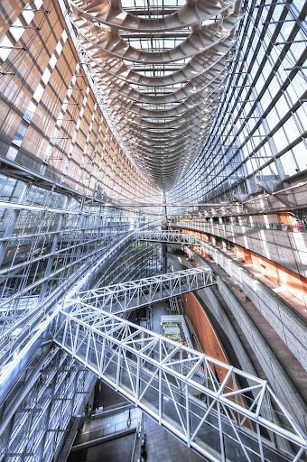 Inside the Tokyo International Forum in Ginza, Japan designed by architect Rafael Viñoly