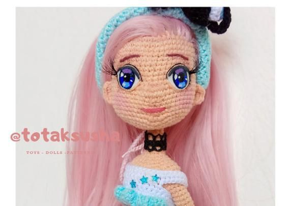 Crochet Doll pattern Mermaid with dolphin, amigurumi pattern, doll with accessories. PDF format in E