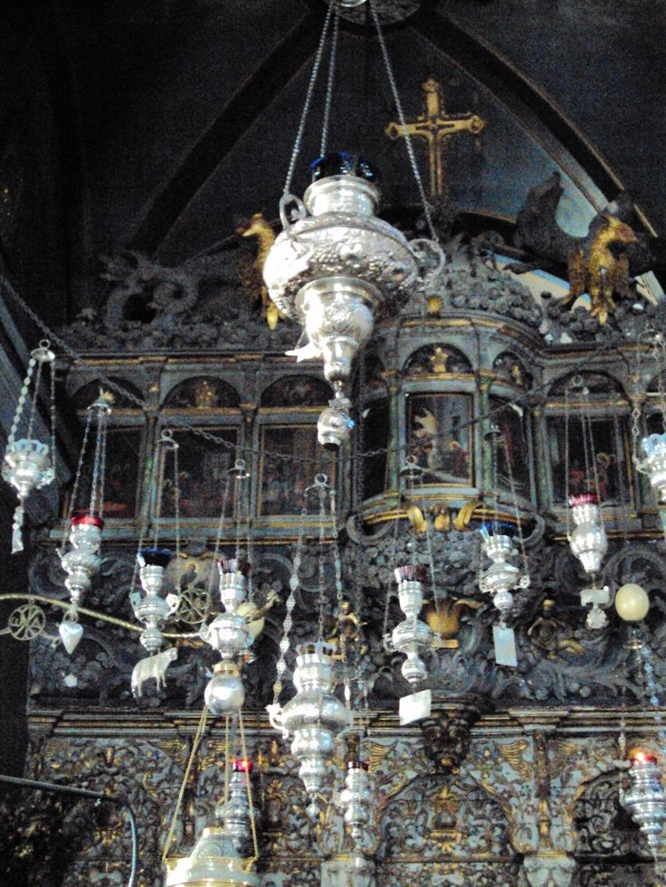 Aromatic censers and silver votives Holy church of Panagia, Tinos, Greece