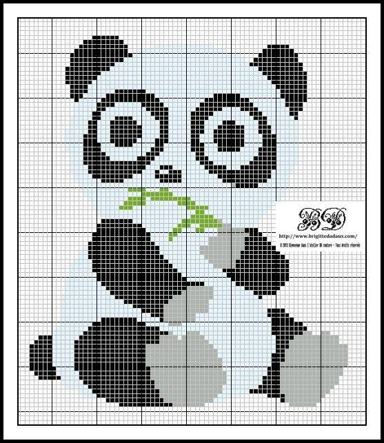 Panda, found on : http://ddata.over-blog.com/xxxyyy/1/17/48/03/panda-grille-point-de-croix-brigitte-dadaux.pdf Panda assis mangeant une feuille de bambou