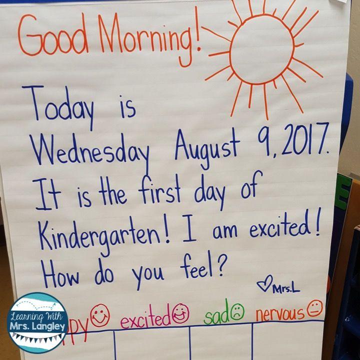 Kindergarten_Anchor_Chart first day | Kindergarten