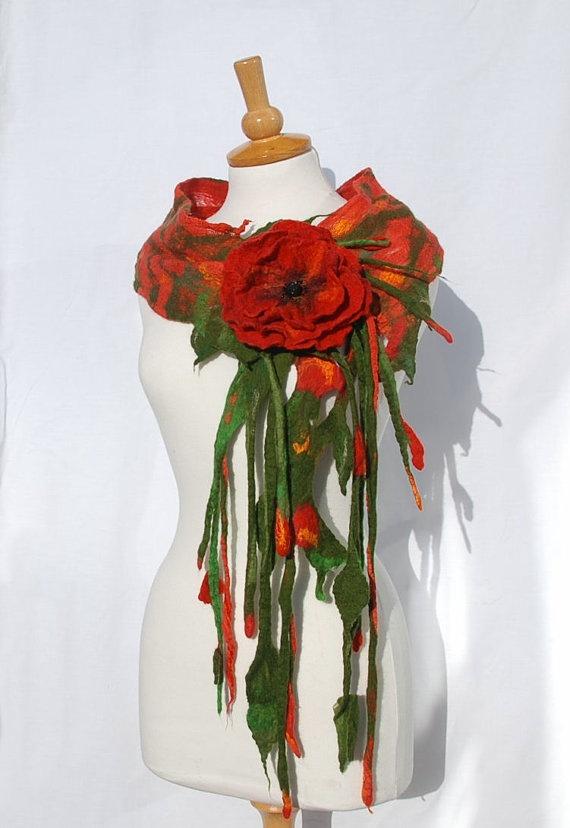 Felted scarf collar necklace  felt flower felted art by AnnaWegg, £36.99