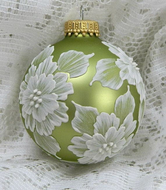 Soft Green MUD Ornament with Flowers by TheMUDLady on Etsy, $15.00