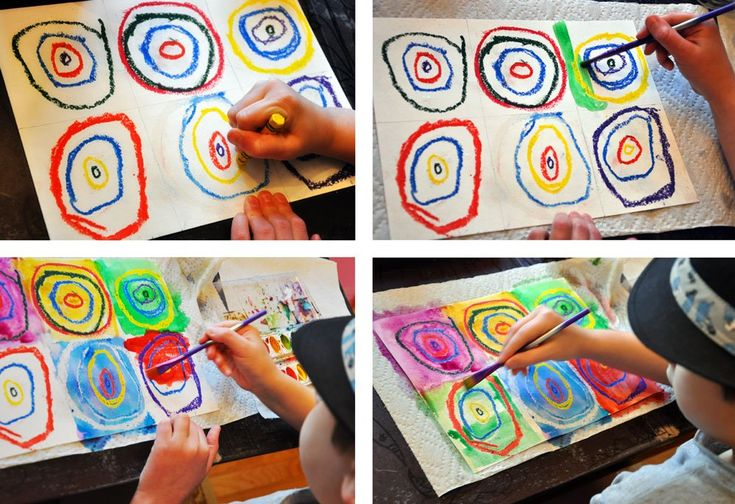 Kandinsky for Kids- oil pastel concentric circles in a grid pattern then wash over with watercolors