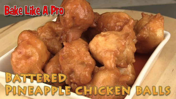 Easy Battered Pineapple Chicken Balls Recipe I'll show you how to make really delicious battered pineapple chicken balls.  You'll find these pineapple chicken balls in most Chinese restaurants. These chicken balls are deep fried to perfection, and then mixed up with your favorite bottled pineapple sauce, plum sauce, sweet and sour sauce or cherry sauce.  You get a nice bit of crispy outside, with a nice fluffy inside, and the chicken in the middle.  I bet you can't eat just one of these !