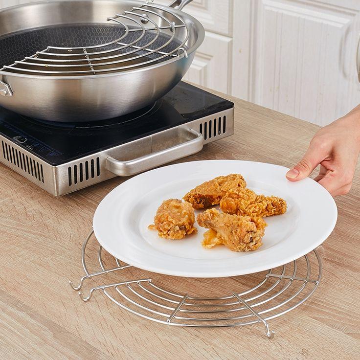 24cm Semicircular Stainless Steel Lek Oil Rack Kitchen Organizer Steamer Pot Shelf Bowl Dish Storage Holder  home kitchen