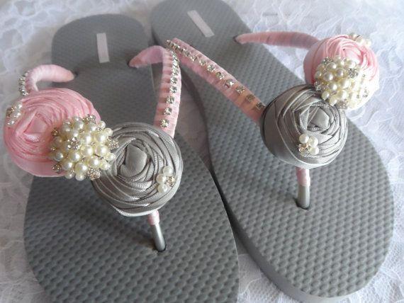 8582480845e86 Light Pink   Gray Bridal Flip Flops   Bridal Color Flip flops   Bridal  Rolled Flowers Sandals   Beach Flip Flops   Bridesmaids Shoes