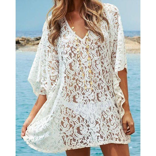 Sexy V-Neck 3/4 Sleeve Solid Color Hollow Out Women's Cover Up