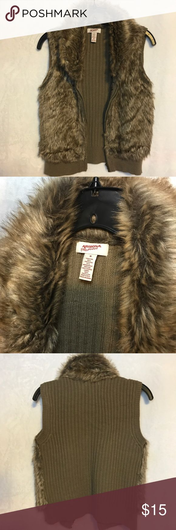 Brown fur vest Like new. Fur vest from Arizona Jean. Not real fur. Size M. Arizona Jean Company Jackets & Coats Vests