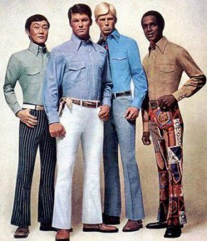 In the 1960s, men started wearing brighter colors. Their standards of dress weren't as standard as they had been before this decade. The rebellious feeling of the 60s stretched even to fashion trends in men.