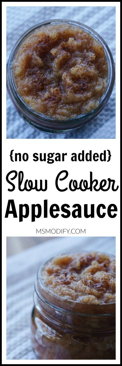 No sugar added- only 4 ingredients slow cooker applesauce