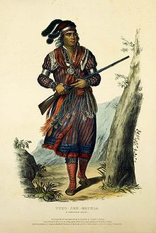 Tuko-see-mathla, Seminole warrior, 1834. The Seminoles (remnants from the earlier Creek War who sought refuge in the swamps of Florida) defended themselves through three bloody wars with the federal American troops between 1814 and 1858, and were never completely ousted despite removal of several hundred Seminole to a separate reservation in the Oklahoma Indian Territory.