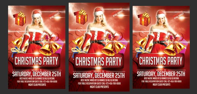 Christmas party Flyer Free Psd Template | Free PSD Files, Free PSD Templates, Free Flyers, Free Website Themes, Free PSD Mockups, Free Photoshop Actions