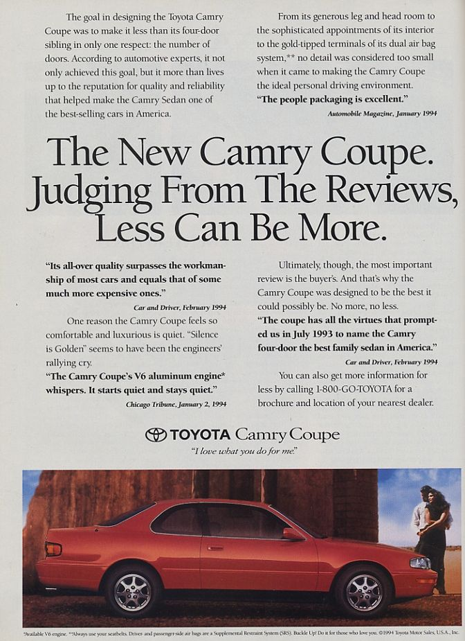 1994 Toyota Camry LE coupe - the coupe version reminded me of the early Lexus LS as well as the early 90s Maxima, and I rarely saw these on the road, especially in red.