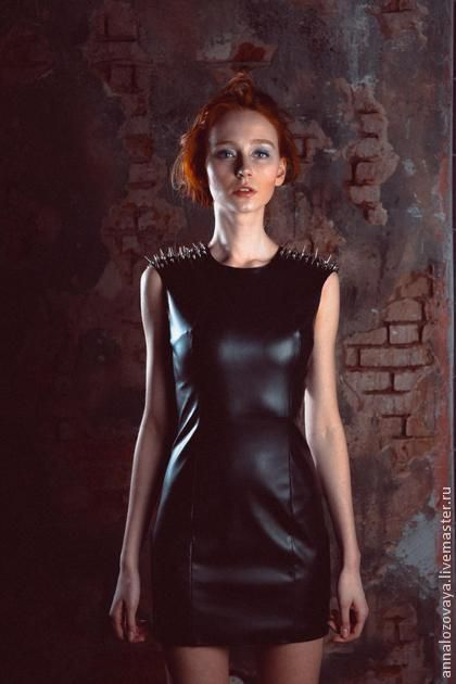 Кожаное платье с шипами. Handmade.