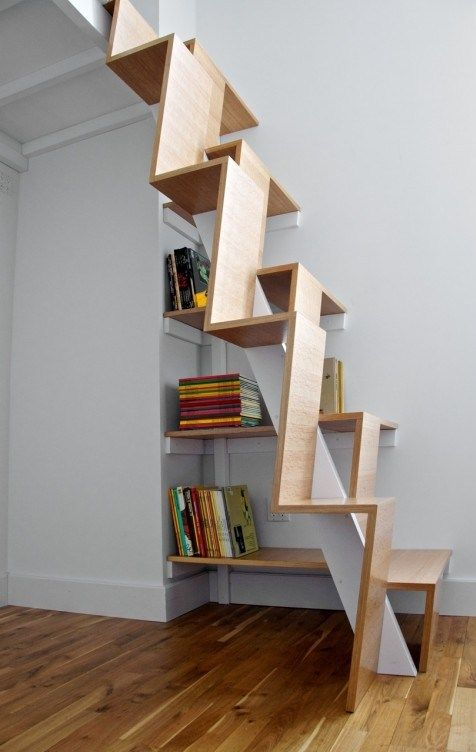 Awesome space-saving stairs (and bookcase)
