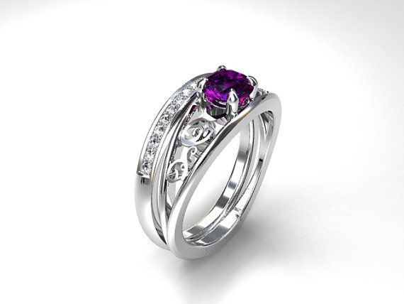 Celui Engagement Ring Set with Amethyst