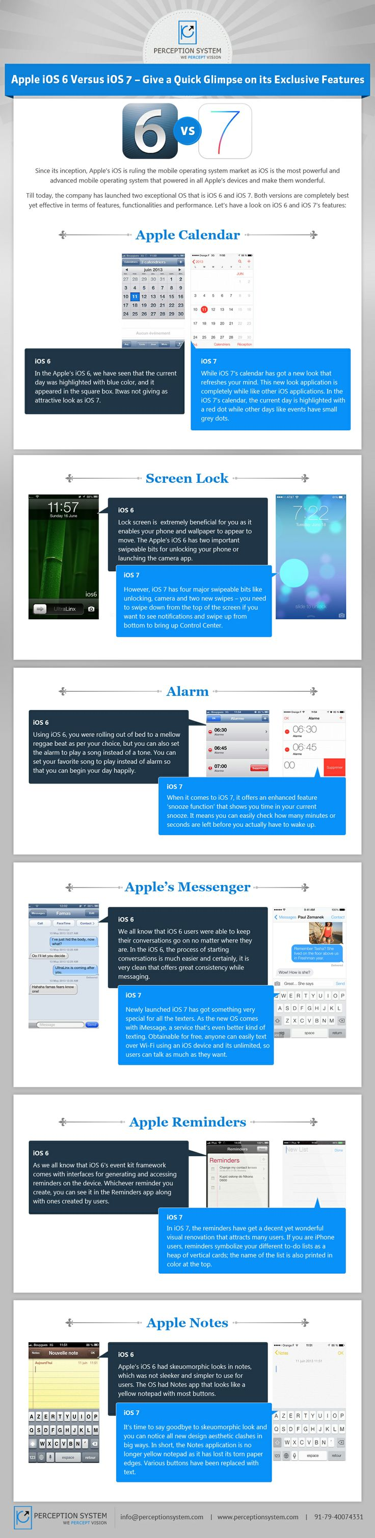 Apple's iOS 6 Vs iOS 7 Give A Quick Glimpse On Its Exclusive Features  #Infographic #Technology #iOS6 #iOS7