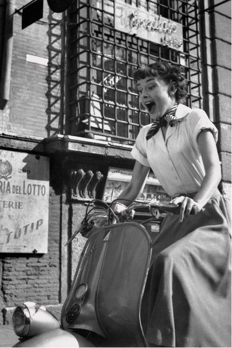 Audrey Hepburn on a Vespa (Roman Holiday, 1953) ~how can you NOT smile when you're on one of these? ;-)
