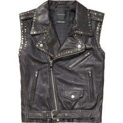Maison Scotch Sleeveless Leather Biker Jacket