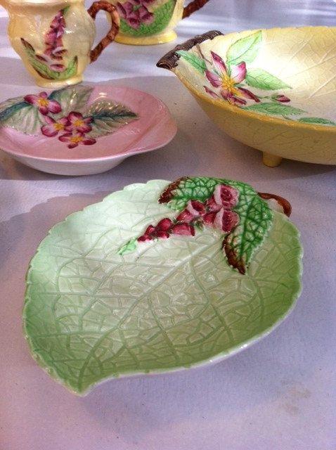 New in store: whimsically pretty, green Carlton ware foxglove jam/pin dish. So sweet!
