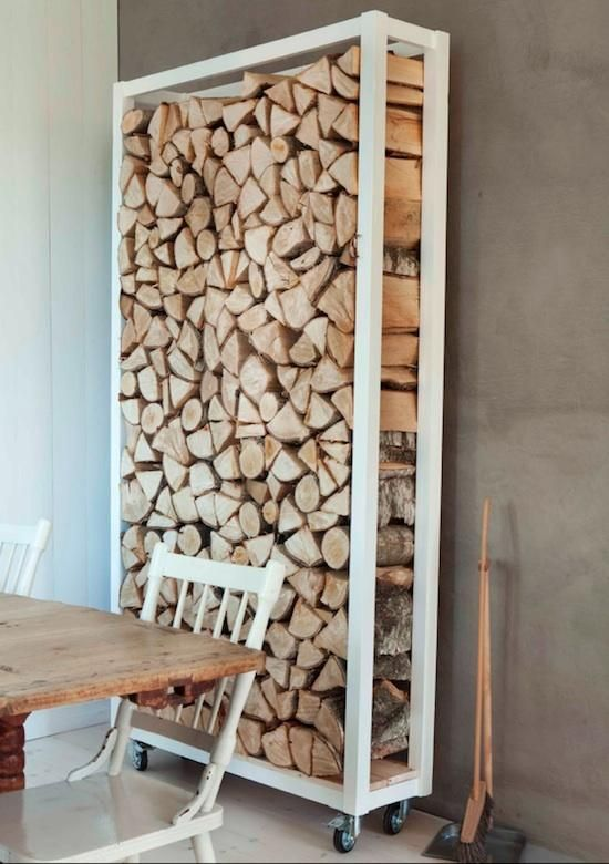 Rolling firewood storage cart #DIY