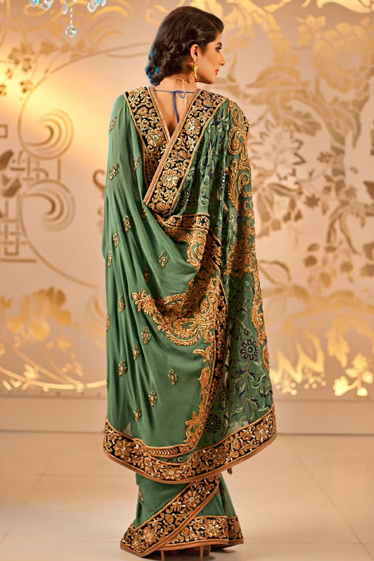 Shop online at   http://www.satyapaul.com/satyapaul/shop/bridal-wear/bridal-sarees/hand-embossed-zardozi-work-georgette   and visit us at http://www.facebook.com/SatyaPaulIndia