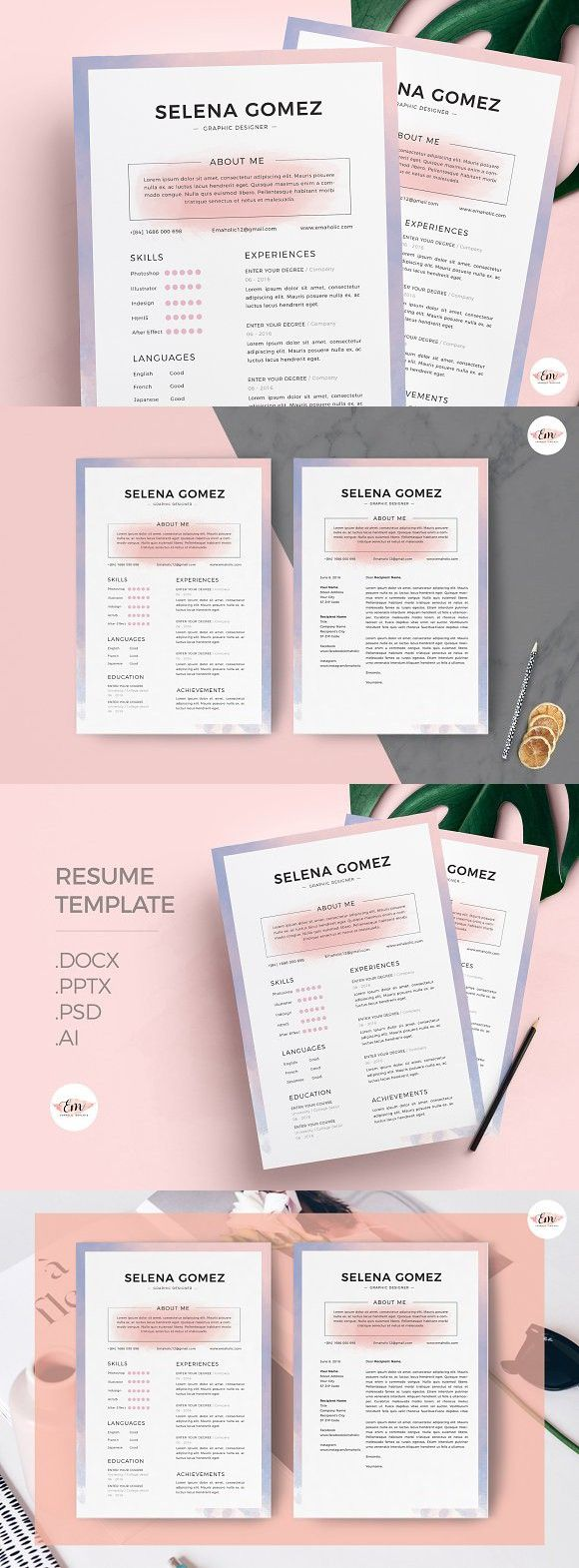 Watercolor Theme Resume Template 2344 best Resume